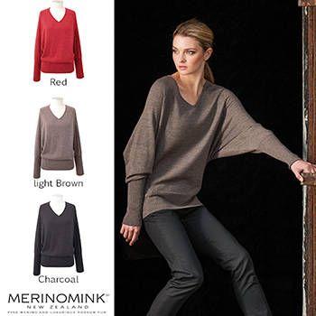 New Zealand Merinomink Womens Merino Wool Batwing Sweater