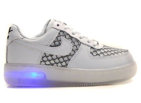 Nike Air Force 1 Light-Up Kids Shoes White Black