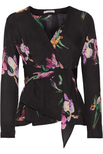 Etro - Floral-print Silk Crepe De Chine Wrap Blouse - Black - IT38