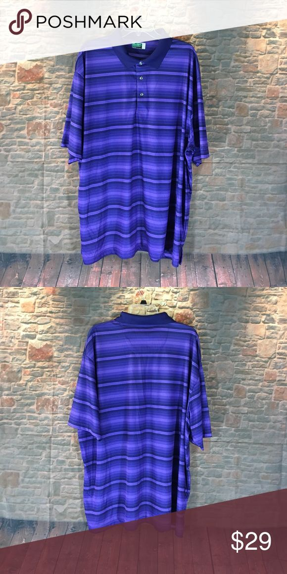 💸Men's Ben Hogan Performance Polo Shirt size 3XL 💸Men's Ben Hogan Performance Polo Shirt size 3XL. Shirt is crafted from 100% Polyester for a casual comfortable all day fit. Handsome purple striped color Ben Hogan Shirts Polos