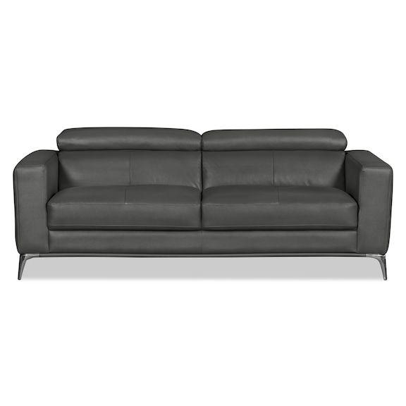 Living Room Furniture - Tyra Genuine Leather Sofa – Grey