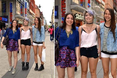 Cambiá de estación e inspirate con este Coolhunting en Suecia  Otro trío de chicas lindas y con mucha actitud. Nosotras elegimos a la de pollera estampada y maxicollar