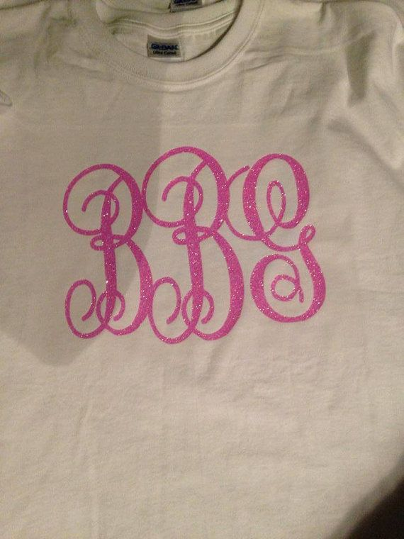 Glitter Monogram T-shirt by VibrantVinylbySarah on Etsy