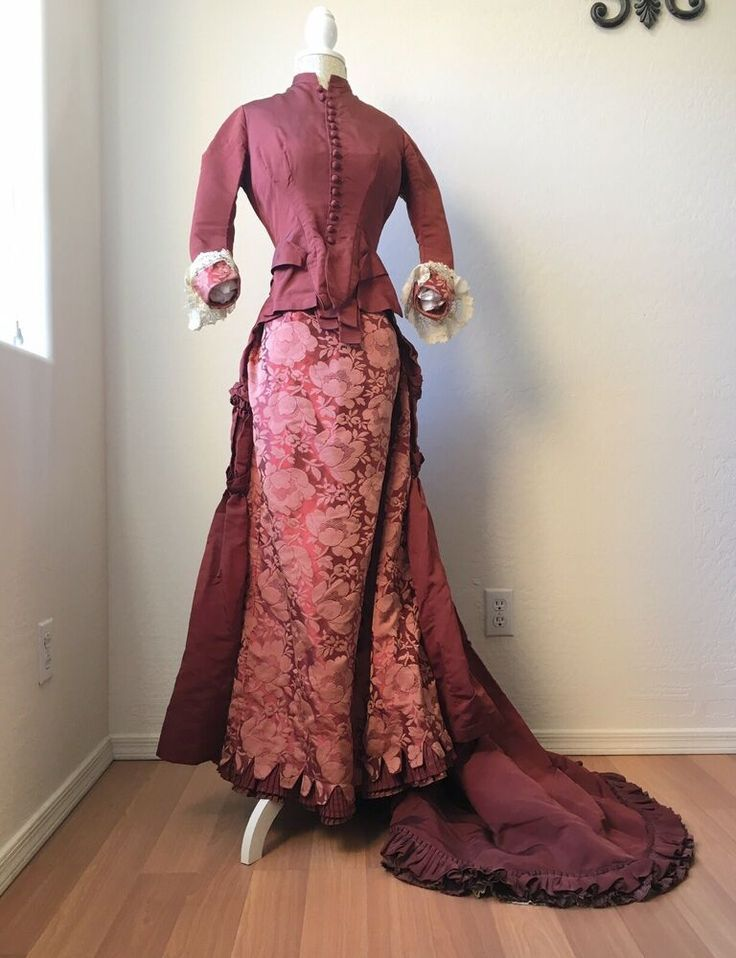Pink and lace bustle  dress.