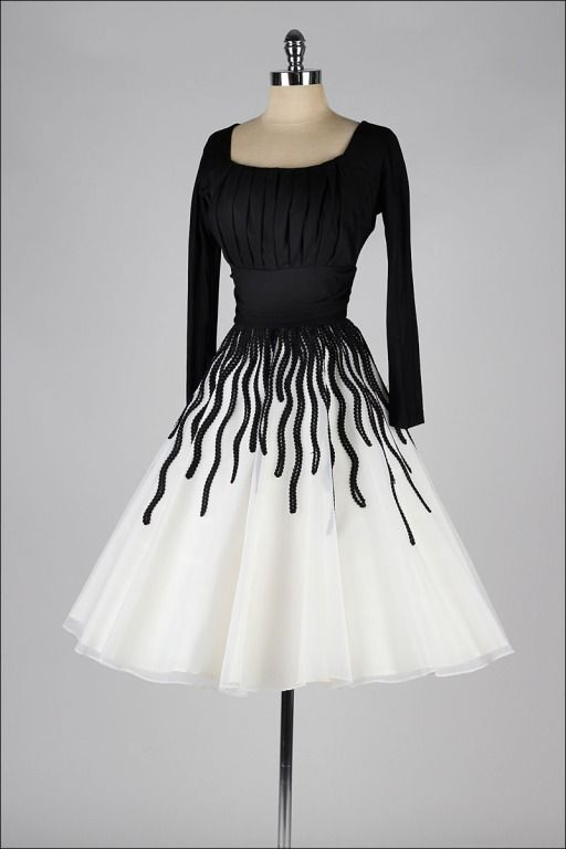1950's Black and White Ribbon Work Cocktail Dress