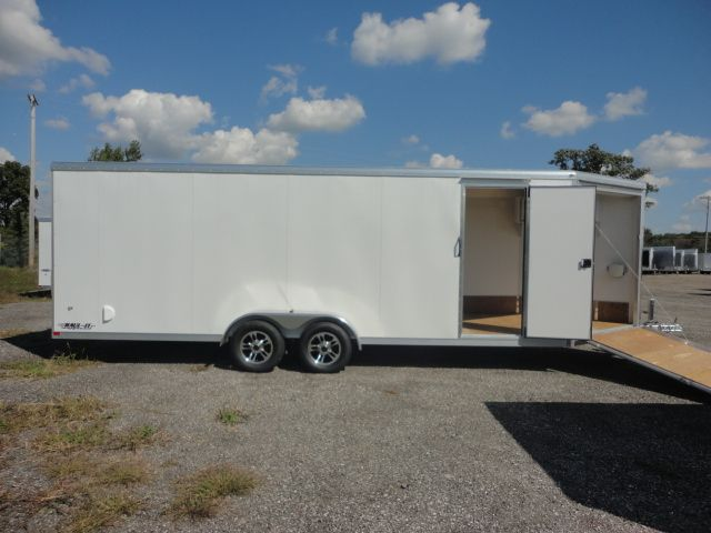 2015 Haul-It 7x26   Snowmobile Trailer for sale. 1-866-554-4217 | New 2015 Haul-It 7x26 Enclosed Snowmobile trailer for sale, V Nose,Front Stone Guard,Front Drop Loading-Unloading Ramp,Flow Through Vents,Exterior LED Lights,Aluminum Wheels.