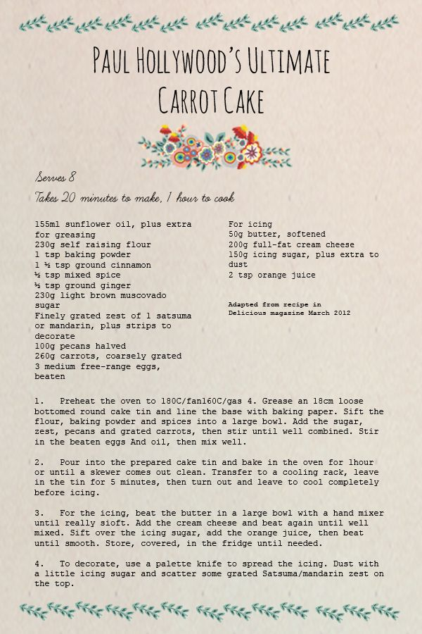 Paul Hollywoods carrot cake recipe