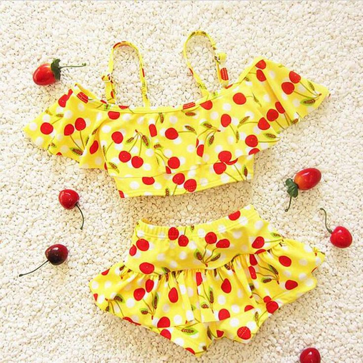 Children's swimwear for girls cherry bebek bikini girls baby swimsuit girl swim swimsuits beach wear – biquines de praia