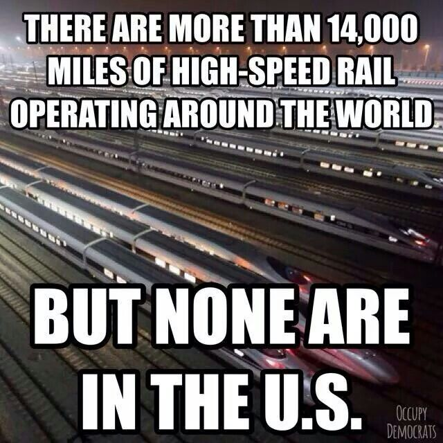 Infrastructure money trickles up to the top 1% with tax cuts and subsidies rather than spend on high-speed rail.  Gee, wonder what could make traveling easier, what could create jobs and help our failed infrastructure!