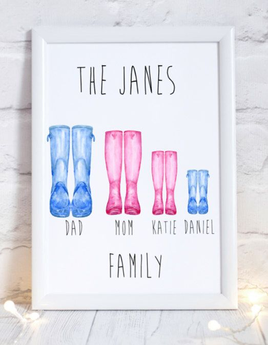 A personal favourite from my Etsy shop https://www.etsy.com/uk/listing/480922510/wellington-boot-family-print-wellington