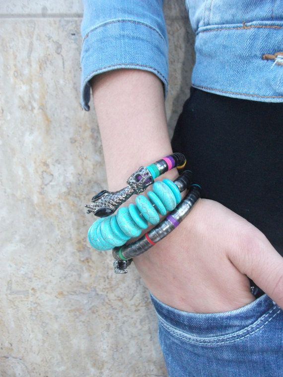 Blue Bracelet / Metal Bracelet / Snake by Theworldofjewelry