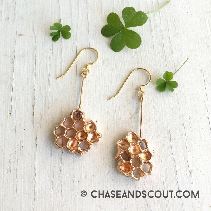 Honeycomb Earrings, Dangle Earrings, Honeycomb jewelry, Drop Earrings, Bronze Beehive earrings, Honey Gold jewelry, Handmade in Austin Texas