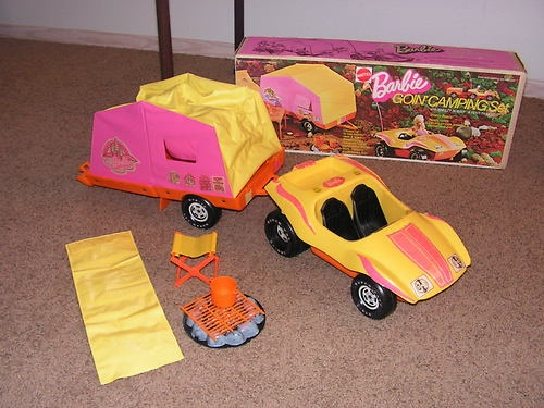 1973 BARBIE GOIN' CAMPING SET #8869 W/BOX VW BREEZY BUGGY TENT TRAILER70S, Nostalgia, Barbie Townoth