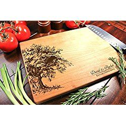 Personalized Cutting Board Engraved Chopping Block - Weeping Willow Tree