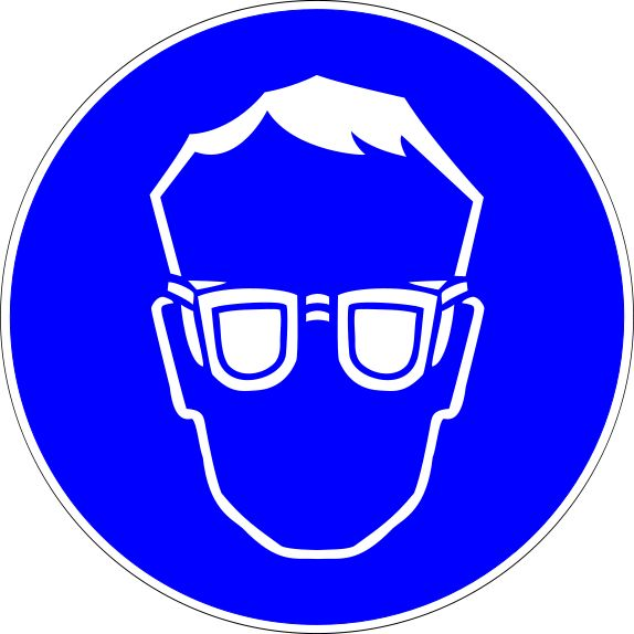 Science Laboratory Safety Signs: Blue Eye Protection Required Sign