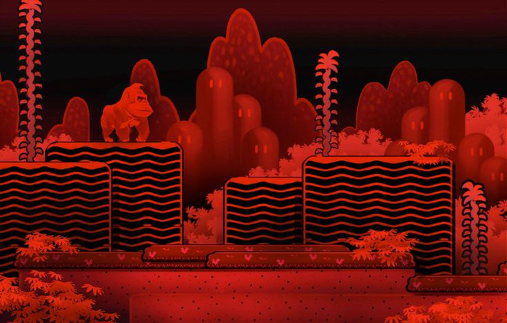 As you can see in the picture above, one idea was to take Donkey Kong back to the oft-forgotten Virtual Boy era with a level/area that would play out just like a classic Virtual Boy title! Awash in the familiar Virtual Boy colors of red and black, the screenshot is made even more interesting because of the fact that the level appears to be based off Super Mario Bros. 2!