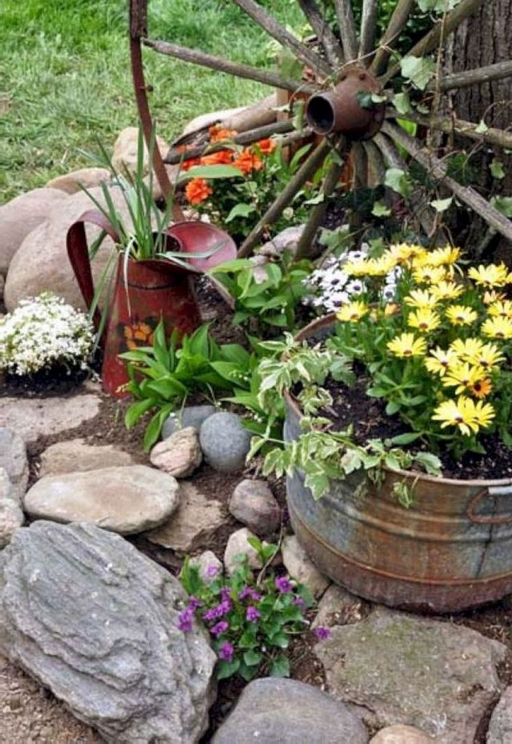 9 Country Garden Decoration Ideas  Country garden decor, Rock
