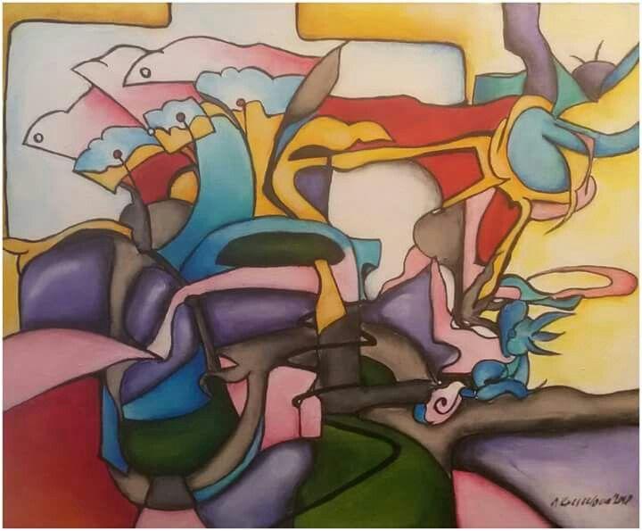 """Silvie Kreiselová  """"Senzační ráno"""" Acryl 45x55."""