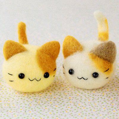 DIY handmade felt wool TWINS small cat --- Japanese kit package. $17.00, via Etsy.