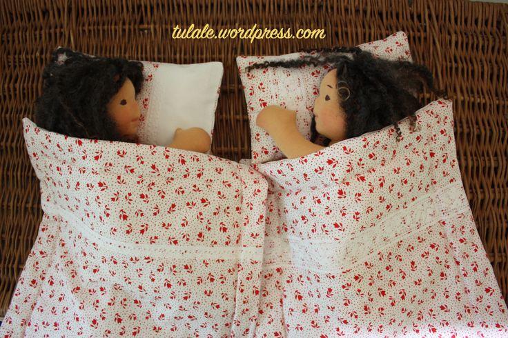 Sweet girls sleep first in new bedding