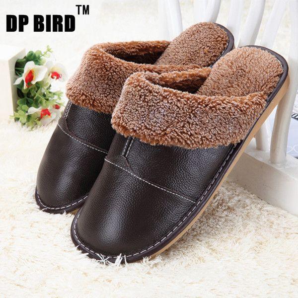 Leather Home Slippers Men Indoor\ Floor Outdoor