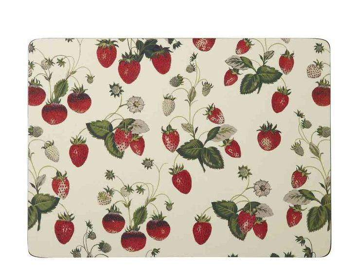 Tischset Erdbeeren - 4teilig mit Korkrücken - Platzmatten abwaschbar Platzmatten