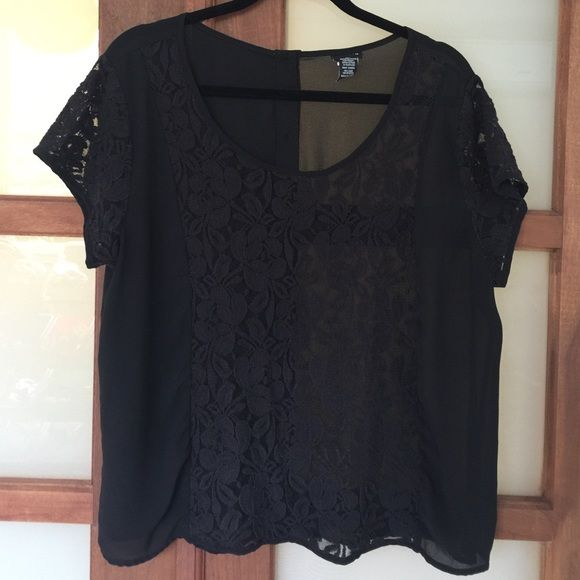 Cute Black See Through Top! This cute see through top has a lace panel in the front and lace sleeves!  The back has buttons! Just beautiful!!!! Throw a cami underneath or if you are bold a cute black bra and you are set!!! torrid Tops