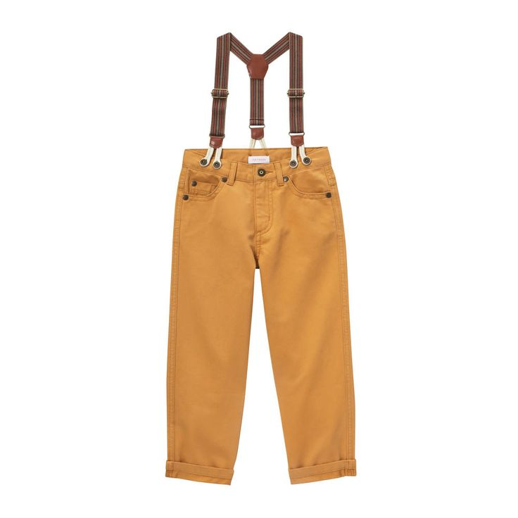 I die! Joe fresh: Show off his style in yellow pants with adjustable suspenders.