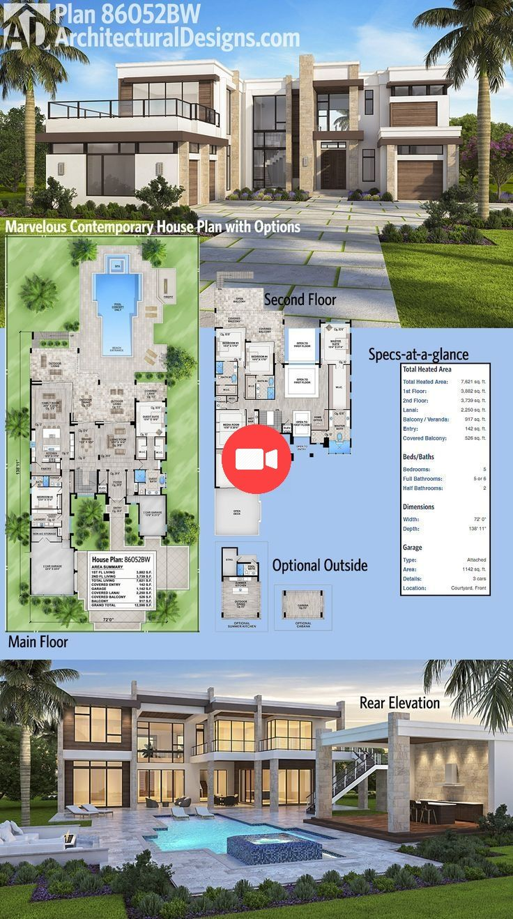 Decouvrez Le Pont Au Dessus Du Garage Dans Architectural Designs Luxury House Plan 8 Plan Maison Contemporaine Maison De Luxe Maison Contemporaine