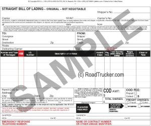 Triplicate HM and Straight Bill of Lading Min=250