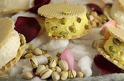Vanilla ice cream with rosewater, saffron, and pistachios. (Iranian ice cream)