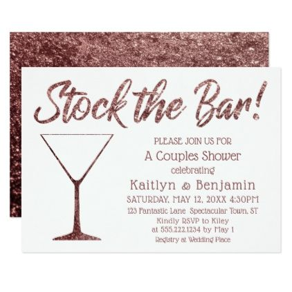 Glittery Rose Gold Stock the Bar Couples Shower Card - invitations custom unique diy personalize occasions
