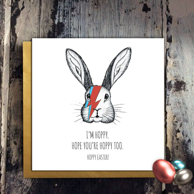 Easter Bunny Bowie Card Ziggy Stardust Hoppy Easter or Hoppy Birthday Rabbit Hare Illustration Pen & Ink Music Ashes to Ashes Greetings Card by SHERWOODMADEUK on Etsy