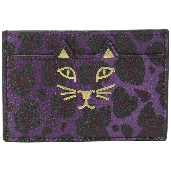 Charlotte Olympia Feline Card Holder (Purple Leopard Print Goatskin)... ($215) ❤ liked on Polyvore featuring bags, wallets, goat leather bags, leopard print bag, card holder wallet, cat wallet and card carrier wallet