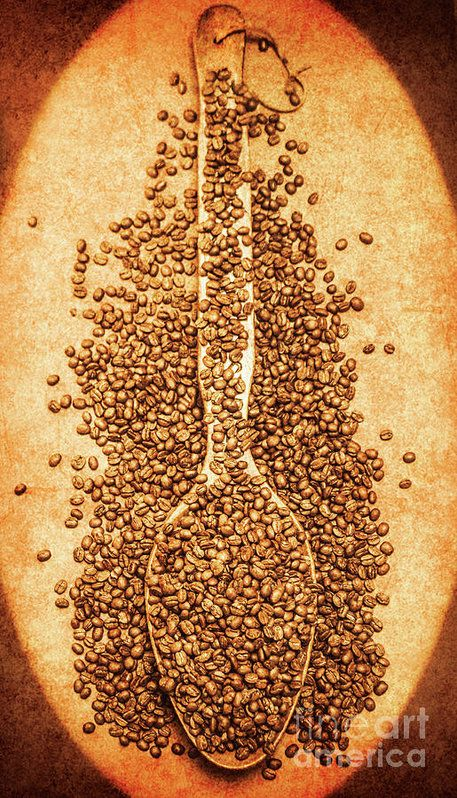 Old fashioned brewhouse art on a serving spoon holding kilos of organic coffee beans on rusty background. Scoop of nostalgia at the coffee bean store by Jorgo Photography - Wall Art Gallery