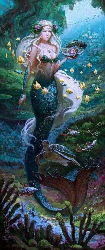by Sergey Sezonov like how the yellow fish are swimming around her