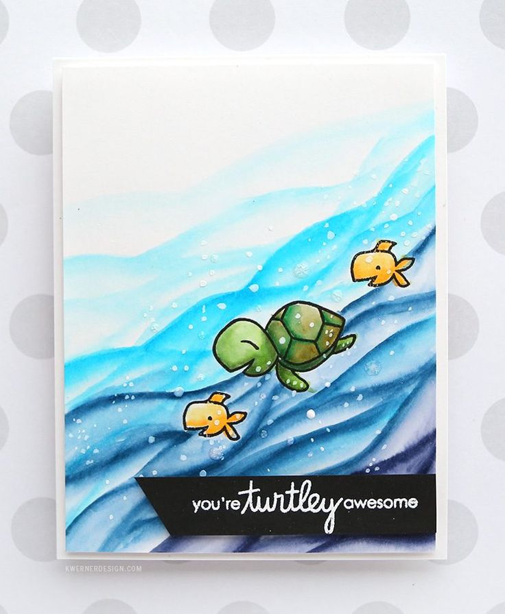 You're Turtley Awesome! - Zig Clean Color Markers & Paper Smooches. Card by Kristina Werner