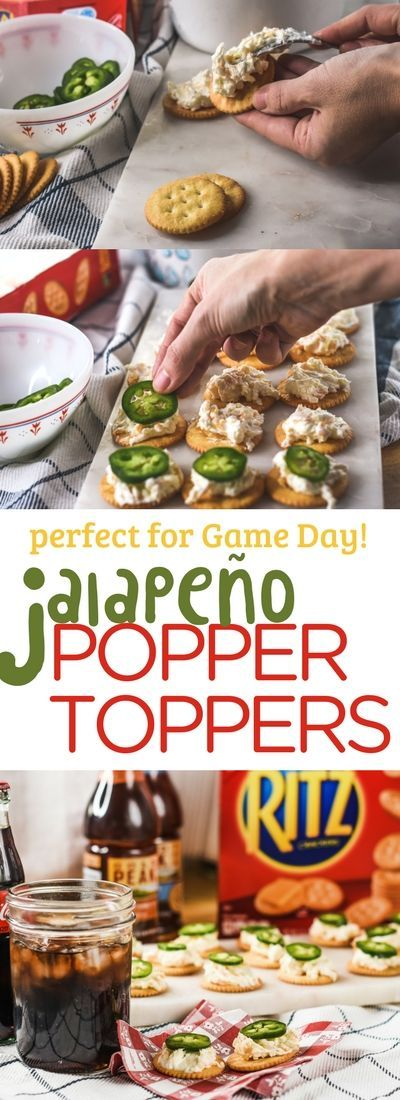 These easy Jalapeño Popper Topper appetizers are perfect for Game Day. Creamy cream cheese topping a buttery @RITZcracker with a slice of jalapeño on top. Serve up with an ice-cold Coca-ColaⓇ for a delicious and easy appetizer! #ad @CocaCola  #jalapeño #appetizer #gameday