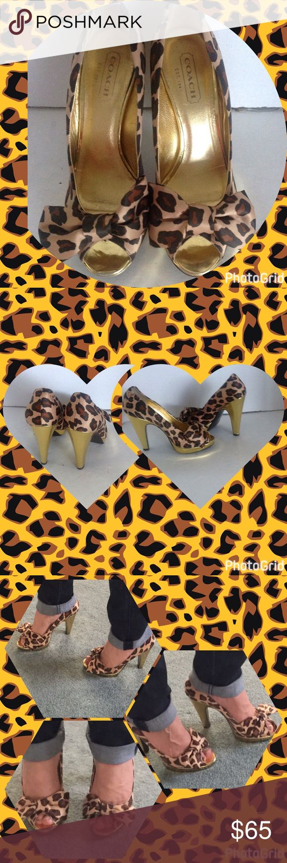 Coach Brown Leopard Satin Daisy Peep Toe Heels Coach Brown Leopard Satin Daisy Peep Toe Heels ....Very good condition with a slightly signs of wear. Made in Italy : Tan and Brown Leopard Print with Gold Trimmings, bottoms Brown, /leather Coach Shoes Heels