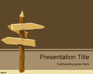 Wood Street Sign PowerPoint Template is a free direction PowerPoint template with wood street signs in the slide design