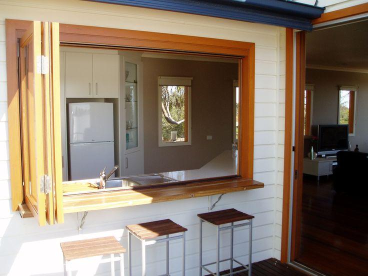 Bifold window with jarrah bar
