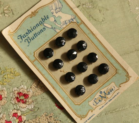 Antieke kaart voor 12 kleine glazen knoppen door duchesstrading