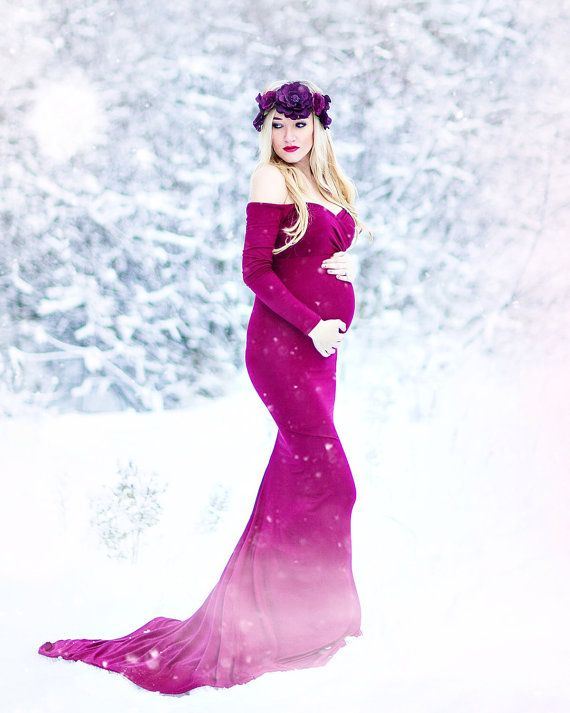 Shooting photo: grossesse + hiver + robe violette