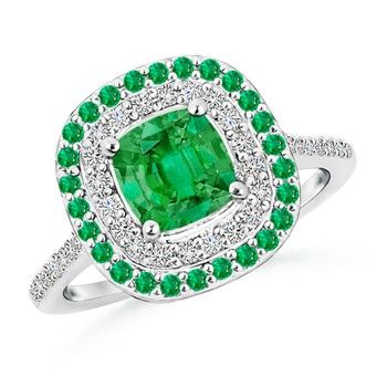 Angara Cushion Emerald and Diamond Double Halo Ring in Platinum v3ccgNG