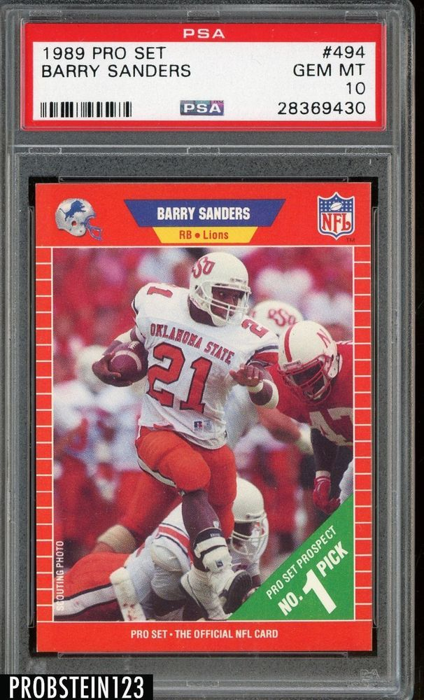 1989 Pro Set Football 494 Barry Sanders Detroit Lions RC Rookie HOF PSA 10