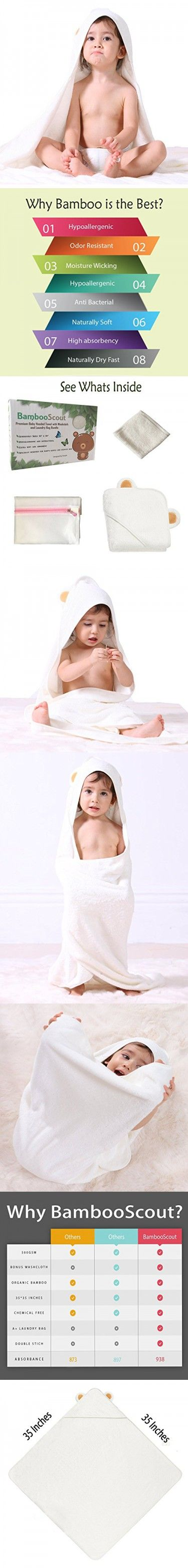 Bamboo Hooded Baby Bath Towel, Washcloth (white), and Laundry Bag Antibacterial and Hypoallergenic | Extra Large, for Infants, Toddlers, Newborn, and Baby - Ultra Soft Touch !