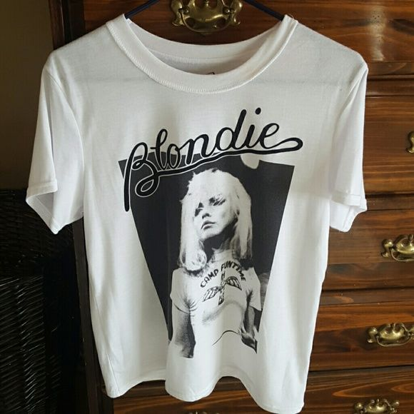 White tshirt White tshirt w/ the singer BLONDIE on the front. Worn 1 time!! Blondie Tops Tees - Short Sleeve