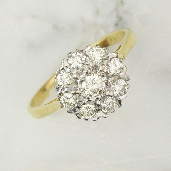 vintage diamond cluster engagement ring 66 carats in 18k