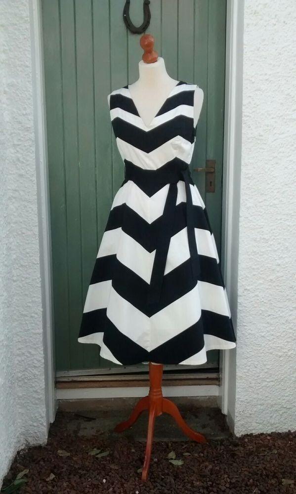 Per Una Black Dress Part - 49: Per Una Black White Chevron Striped Fit U0026 Flare Dress Size 8 BNWT