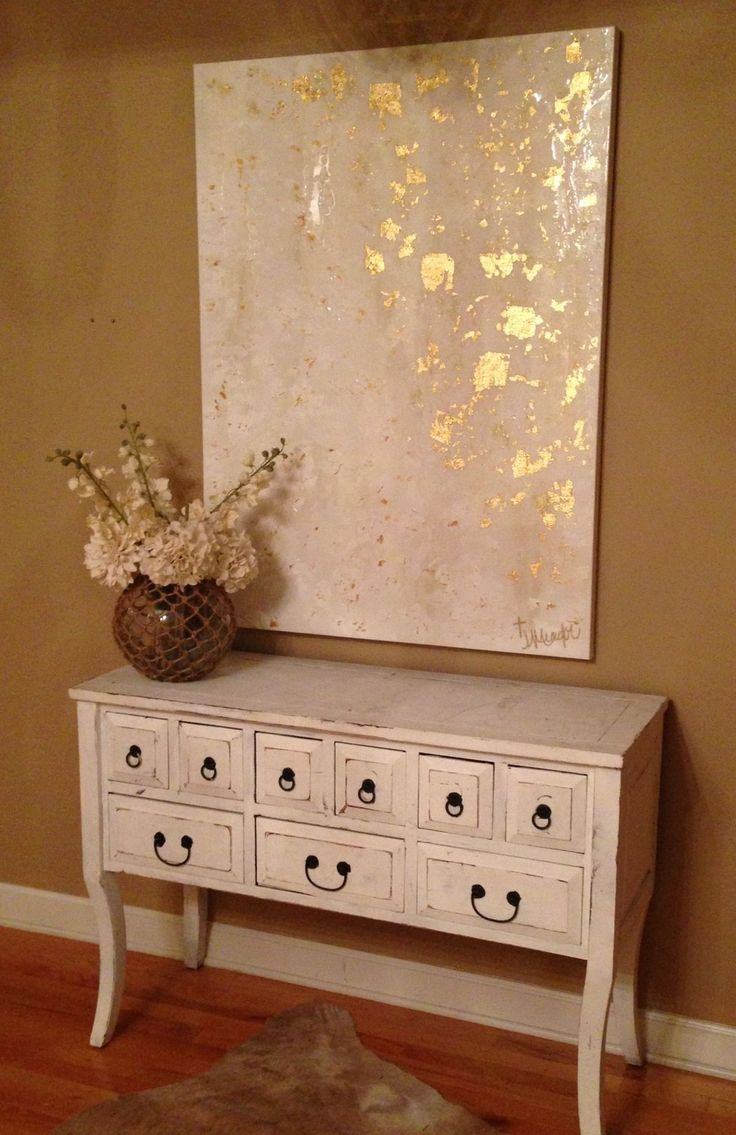 White and gold abstract art by Jenn Meador Paint. 36x48 email to ...